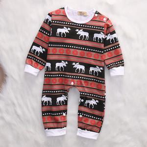 크리스마스 아기 잠옷 순록 유기 Ctoon Romper 정장 유아 복장 축제 부티크 의류 도매 세련된 아이 옷 Unisex
