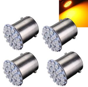4pcs Car LED Light 1156 BA15S P21W 22SMD 3020 1206 LED Auto Car Turn Signal Reverse Parking Lights Lamp Bulb Amber Yellow DC12V