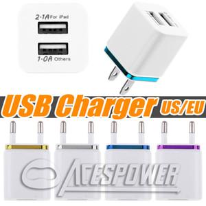 Главная Dual USB Charger EU штепсельной вилки США 2 порта переменного тока зарядки Адаптер питания для Samsung Galaxy Note 10 Plus S20 Plus LG