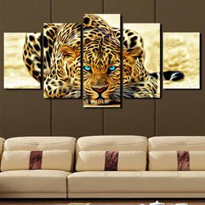 5 Panel Leopard Painting Canvas Print Pintura decoración del hogar Living Room Canvas Wall Art Picture - Gran arte de la lona