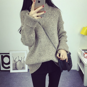 Wholesale- Women Sweater Autumn Winter Loose Knit Jumper New Fashion Solid Color Thick Warm Pullovers Vintage O-Neck Oversize Sweater