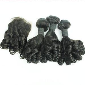3adet İnsan Saç Paketler Afro Kinky Kıvırcık Saç Spiral Curl Dokuma Yumurta Curl İnsan Virgin Saç Dalga Kapatma Teyze Funmi Wit Dantel Kapanış