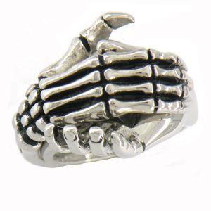 EDELSTAHL Herren oder Damen PUNK VINTAGE JEWELRY Schmuck GHOST SKULL Hand halten Hand Ring Geschenk 07W14