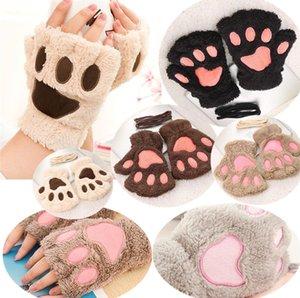 Großhandel - New Fashion Winter Arm Warmer Fingerlose Handschuhe, niedliche Katze Bärentatze Pelzbesatz Handschuhe Five Fingers Gloves 4626