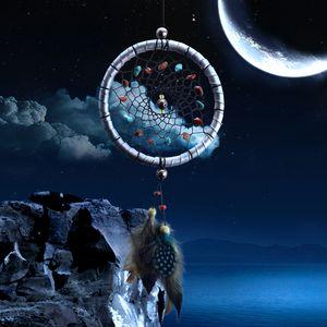 Großhandels Dreamcatcher Geschenk, das Traumfängernetz mit natürlichen Steinen überprüft, versieht Wand-hängende Dekorations-Verzierung mit Federn
