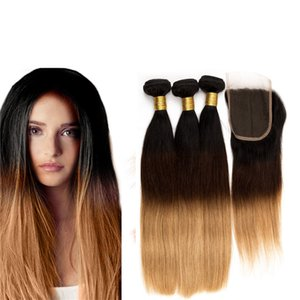 Ombre Straight Lace Closure With Hair Bundles Three Tone 1B 4 27 Honey Blonde Human Hair Weaves With Top Closure