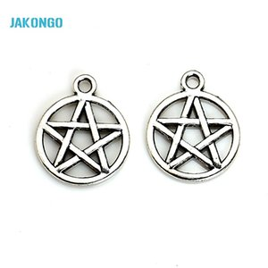 Wholesale-20pcs Vintage Antique Silver Plated Pentacle Star Charms Pendants for Jewelry Making DIY Handmade 20x16mm B201