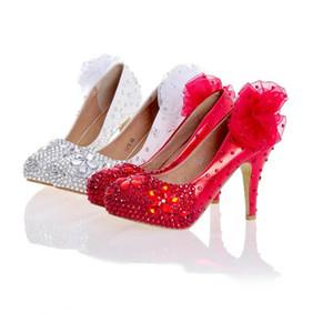 Blanc Rouge Femmes Talons Hauts Argent Strass Chaussures De Fête De Mariage Chaussures À La Main Robe De Mariée Avec Des Appliques Chaussures De Demoiselle D'honneur
