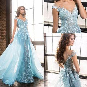 Light Sky Blue 3D Floral Sirena Vestidos de noche Vestir Modest Dubai Arabic Over Skirts Casquillo de manga Ocasión Vestidos de fiesta de graduación Ellie saab