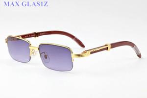 2017 marca designer retângulo óculos de sol óculos de madeira para homens mulheres moda búfalo óculos de sol claro lente roxa meia moldura com caixa