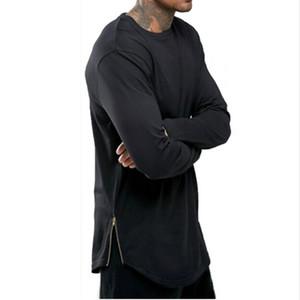 Новые тенденции мужчины футболки супер ярусный с длинным рукавом футболки хип-хоп дуги Подол с кривой подол сторона Zip топы Tee