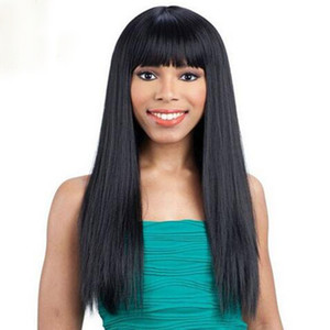 In stock silky straight full wigs simulation human hair silky straight wigs with bangs free shipping