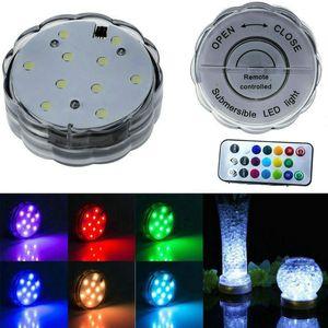 Luzes LED para o partido, 10 LED Lights submersíveis para o casamento Hookah Shisha Bong Decor luz Controle Tealight Vela Remoto Waterproof RGB