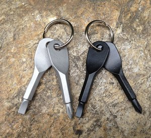 Multifunktionale Pocket Tool Keychain Outdoor EDC Gear Schlüsselanhänger Mit Schlitz Phillips Kopf Mini Schraubendreher Set Schlüsselanhänger 170601