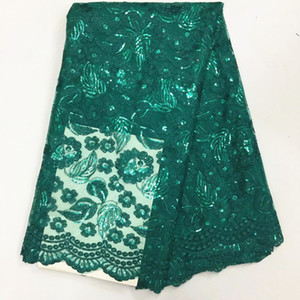 5 Y / pc à la mode vert français net dentelle tissu avec des paillettes feuilles broderie africaine maille dentelle pour vêtements BN58-4