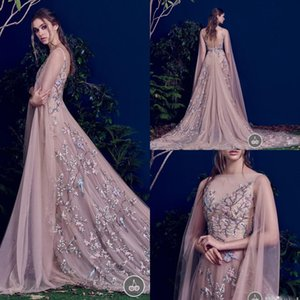 Paolo Sebastian 2017 Prom Dresses Sexy Sheer Long Sleeve Bateau Neck Flower Embroidery Formal Evening Gowns