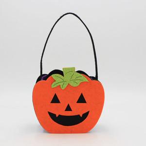 Halloween Pumpkin Candy Bag Trick Treat Cute Smile Basket Face Children Gift Handhold Pouch Tote Bag Non-woven Pail Props Decoration