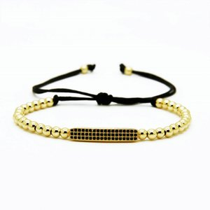 Monili delle donne degli uomini superiori di qualità, branelli di rame di 4mm Black Cz Curved Long Tube Bar Braided Macrame Bracelets