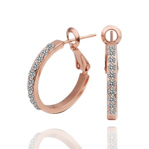 Vendas Hot 18 K Rose Banhado A Ouro Elegante Brincos de Argola Genuine Cristal Austríaco Moda Traje Jóias para as mulheres