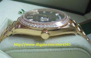 Store361 new chegar relógios Top Mens Relógios de Alta Qualidade Automática II 40mm Presidente 18kt Ouro Amarelo Preto Baguette Dial 228348