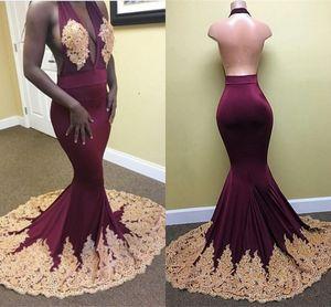 2017 Sexy Sud Africa Borgogna Prom Dresses Usura da sera Mermaid Sexy collo alto Appliques oro Ruffles Tiered Party Reception Dress