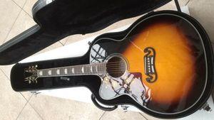 OEM zurdo guitarra solar acústica de color Jumbo Sunburst de 43 pulgadas, tapa de abeto sólido, China hizo guitarras de estilo J200