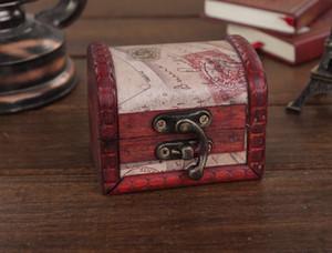 Caja de madera de época Sello clásico Caja de almacenamiento pequeña Caja de favores de boda retro Mini cofre del tesoro, pequeño