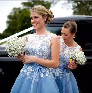 Light Sky Blue Lace A Line Bridesmaid Dresses New Elegant Organza Tea Length Sash Cocktail Party Dresses Evening Prom Gowns Plus Size