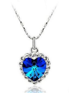 18K blanc plaqué or bleu autrichien cristal amour Collier coeur pour femme fille cristal collier fabriqué avec des bijoux de mariage d'éléments SWA