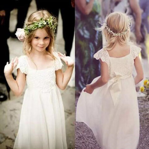 Beach Wedding Country Boho Flower Girl Dresses Square Neck Capped Sleeves Lace Top Full Length Kids Formal Gowns Tulle Skirt with Sash