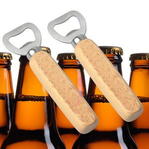Cocina Abrebotellas Herramientas Manija de madera de acero inoxidable Abridores de cerveza Bar Herramientas Soda Cerveza Botella Tapa Abridor Regalos