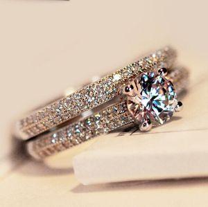 2017 New Victoria Wieck Nice Engagement 10KT Oro Blanco Fille Zafiro blanco simulado Diamond Wedding Band Ring set