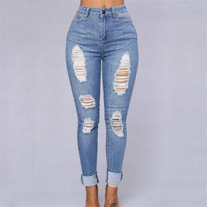 Al por mayor-Retro Hole Design Loose Jeans Mujer Pantalones de mezclilla de alta cintura de las mujeres Nueva Moda Pantalones de cuerpo entero para mujeres Pantalones lápiz