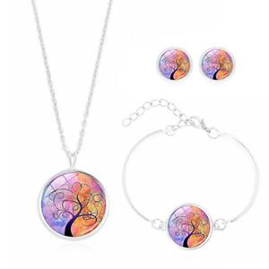 ¡Gran venta! 5Set Tree of Life Glass Cabochon Necklace Earring y pulsera conjunto de joyas para mujeres regalo de boda