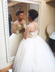 Victorienne arabe manches longues robe de bal robes de mariée princesse style 2021 Plus Size Muslim Isalmic ras du cou Voir mariage Robes de mariée