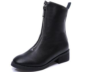 Kadınlar rahat hakiki deri cowskin ayak bileği çizmeler kızlar tıknaz topuk fermuar siyah açık ayakkabı bayanlar moda yürüyüş botla ...