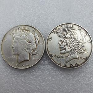 US Face à face deux visages 1922/1922 Peace Dollar crâne zombie squelette sculpté à la main copie des pièces