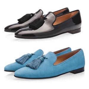 Diente de león borla Nary Flats Hombres Mocasines con flecos Borgoña Zapatos de terciopelo azul claro Alpargatas Vestido de hombre Zapatos de boda Zapatillas de ante
