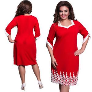 Vestito da donna maxi 2017 primavera estate abito da ufficio dritto blu rosso abito casual in pizzo plus size vestidos large size 5xl 6xl