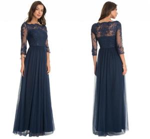 Abiti eleganti madreperla madreperla blu navy con maniche lunghe madreperla in pizzo abiti da sposa una linea in tulle abiti da sera lunghi abiti su misura madre