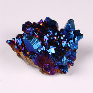 Forma livre Azul Aura Natural Titanium Cristal De Quartzo Cluster Místico Revestido Mineral Ponto de Rocha Druzy Home Decor Drusy Geode Gemstone Espécime