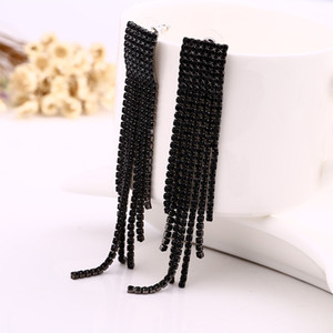 Schwarzer voller Rhinestone-Weinlese-Quasten-Ohrring-Tropfen-Ohrring-Qualitäts-Ohrringe für Frauen-Luxusschmucksachen langer baumeln Ohrring # E019