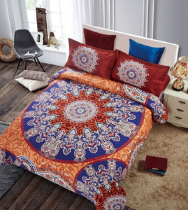 4 Pcs Set Bohemia modern bedding Luxury Quilt Set flower 3D printing Bohemia bedding 100% cotton bed linen bedding
