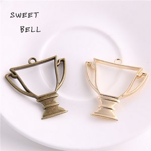 Sweet Bell (Min order 12 pieces) 40*42mm Two color Alloy Hollow trophy Charm Pendant Jewelry Making Pendant DIY Handmade Craft D6077-1