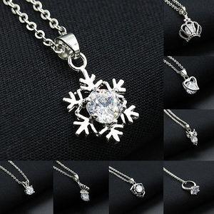 SWA Diamond Pendants Collane con corona d'argento Snowflake scudo cuore Butterfly Owl Ring Charm donne quotidiane Collana 8 stili