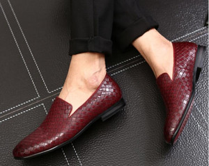 Mens Bullock Genuine Wine Red Men Buckle Shoes Black Shoes Leather Wedding Party Weaving Shoe Dress Business Leather Bottom Bagwv