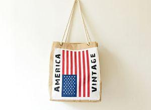 2 pezzi 2017 Borse per la spesa in tela di iuta impermeabile con stampa bandiera americana e Inghilterra Borse di stoccaggio per grandi messenger