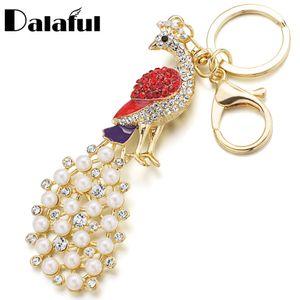 Beijo chique Pavão Faux Pearl Crystal HandBag Pingente Chaveiro Chaveiro Para O Carro Keyfob chaveiro titular para as mulheres K159