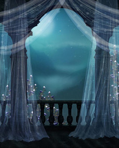 빈티지 성 발코니 웨딩 사진 배경 흰색 커튼 꽃의 밤 풍경 자녀의 신생아의 소품 사진 배경