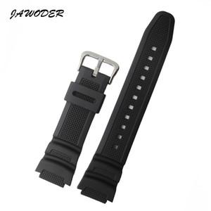 JAWODER Watchband 25mm Black Silicone Rubber Watch Band Strap for Casio AE-1000w AQ-S810W SGW-400H SGW-300H Sports Watch Strap